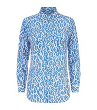 Equipment Slim Signature Cheetah Print Shirt Female Blue