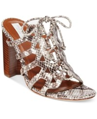 Cole Haan Claudia Block Heel Lace Up Sandals Women's Shoes Silver Snake