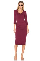 Michael Stars Ruched Midi Dress Burgundy