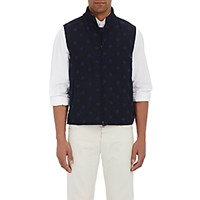 Montedoro Men's Polka Dot Embroidered Vest Blue