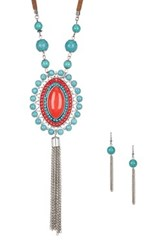 Eye Candy Los Angeles Cowboy Necklace And Earrings Set Metallic