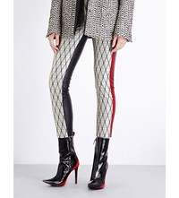 Haider Ackermann Skinny Jacquard And Leather Trousers Ivory Black Ivory