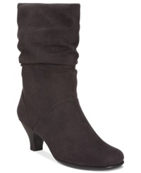 Aerosoles Wise N Shine Slouch Boots Women's Shoes Black Fabric