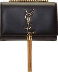 Saint Laurent Black Leather Monogram Small Shoulder Bag