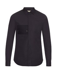 Marni Patch Pocket Cotton Poplin Shirt Navy