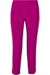 Giambattista Valli Cropped Silk And Cotton Blend Twill Tapered Pants