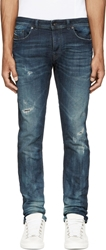 Diesel Black Gold Blue Distressed And Creased Type 253 Jeans