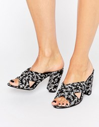 Daisy Street Ditsy Floral Mule Heeled Sandals Black Based Ditsy Fl
