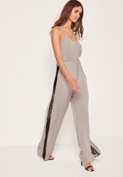 Missguided Silky Lace Insert Jumpsuit Silver