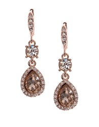 Givenchy Pear Cut Double Drop Crystal Earrings Rose Gold