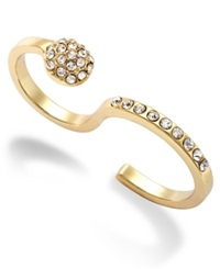 Abs By Allen Schwartz Gold Tone Pave Crystal Double Finger Ring