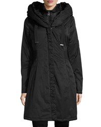 T Tahari Hooded Ribbed Trim A Line Jacket Black