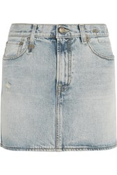 R 13 R13 Distressed Denim Mini Skirt Light Denim