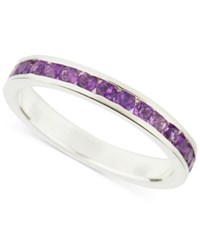 Macy's Amethyst Accent Channel Ring In Sterling Silver