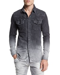 Balmain Ombre Denim Button Down Shirt Dark Gray