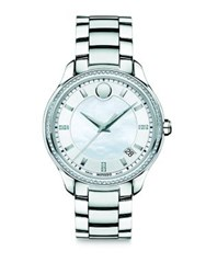 Movado Bellina Diamond Mother Of Pearl And Stainless Steel Bracelet Watch Silver Blue
