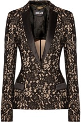 Just Cavalli Satin Trimmed Lace Blazer Nude