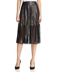 Alice Olivia Tianna Leather Stripe Midi Skirt Black Gold