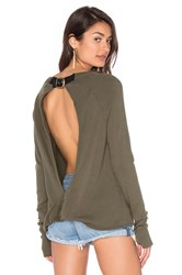 Pam And Gela X Revolve Destroyed Twist Back Sweater Olive