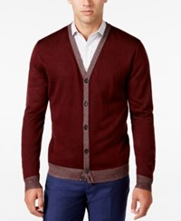 Ryan Seacrest Distinction Men's Lightweight Striped Trim Cardigan Only At Macy's Cordovan