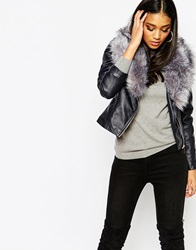 Michelle Keegan Loves Lipsy Pu Jacket With Faux Fur Collar Navy