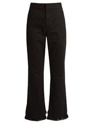 Toga High Waisted Straight Leg Frayed Hem Jeans Black