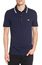 Lacoste Men's Rubber Croc Pique Polo Navy Blue Cake Flour White