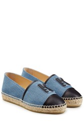 Karl Lagerfeld K Espadrilles In Denim With Leather Blue