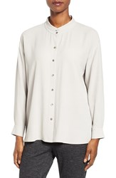 Eileen Fisher Women's Silk Georgette Crepe Stand Collar Blouse Silver