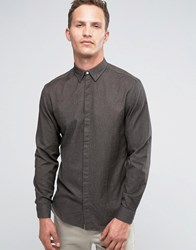 Selected Homme Long Sleeve Smart Shirt In 100 Cotton Charcoal Grey