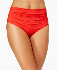 Anne Cole Convertible Shirred Bikini Bottoms Women's Swimsuit Lipstick Red