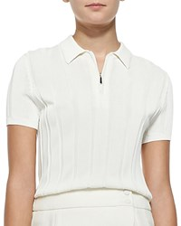Jason Wu Ribbed Knit Polo Top With Zip Chalk Women's