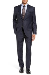 David Donahue Men's Big And Tall Ryan Classic Fit Check Wool Suit Navy