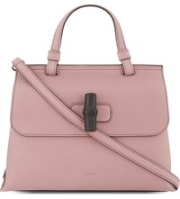 Gucci Bamboo Daily Leather Satchel Carmine Rose