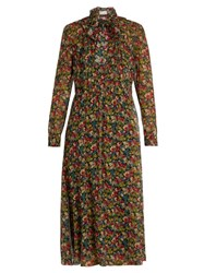 Red Valentino Floral Print Long Sleeved Silk Crepon Dress Multi