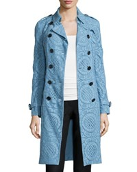 Burberry Double Breasted English Lace Trenchcoat Light Blue