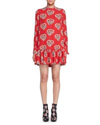 Alexander Mcqueen Poppy Print Drop Waist Dress Black Red Black Red