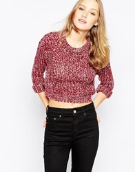 Girls On Film Jumper In Marl Knit Red