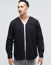 Weekday Tesla Denim Shirt Kimono Neck In Black Black
