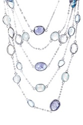 Candela Sterling Silver Multi Strand Assorted Stone Station Necklace Blue
