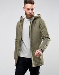 Only And Sons Fishtail Parka With Borg Lined Hood Olive Night Green