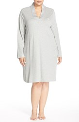 Plus Size Women's Lauren Ralph Lauren 'Emsworth' Cotton Nightgown Heather Grey
