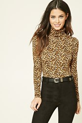Forever 21 Cheetah Print Turtleneck Top Camel Black