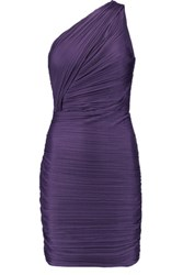 Halston Heritage One Shoulder Ruched Jersey Mini Dress Purple