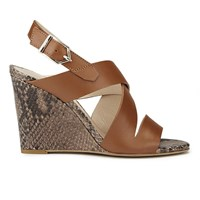 Hugo Women's Vertic Snake Print Leather Wedged Sandals Light Pastel Brown Tan