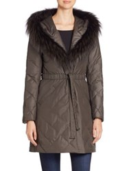 The Fur Salon Fox Trimmed Quilted Puffer Coat Grey