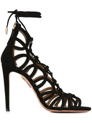 Aquazzura Laced Stiletto Sandals Black