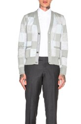 Thom Browne Patchwork Intarsia Cardigan In Gray Checkered And Plaid