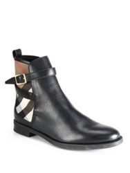 Burberry Richardson Leather And Check Canvas Ankle Boots Chestnut Black