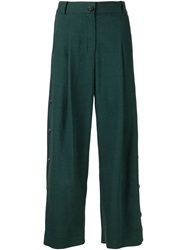 Maiyet Cropped Buttoned Trousers Green